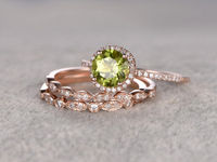3pcs Peridot Bridal Ring Set Engagement ring Rose gold Diamond wedding band 14k 7mm Round Cut Gemstone Promise Ring Marquise Eternity Band
