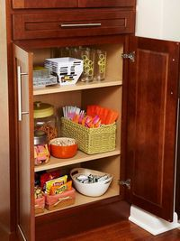 When it comes to kitchen organization, keeping dishes in the cabinets, food in the pantry, and silverware in drawers makes perfect sense