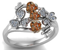 3 Roses in Rose Gold Two Tone Rose & White Flower Ring Promise Ring Celtic Ring Unique Engagement Ring Diamonds Floral ring Birthday Gift $735.00
