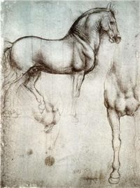 Study of the Horse Leonardo da Vinci - c.1490, Milan Italy - done with Metalpoint on paper Collection - The Royal Collection, Windsor Castle, Windsor, UK