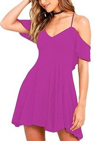 Sidefeel Women Ruffled Shoulder Straps Backless Party Dress X-Large Dark Purple $43.99