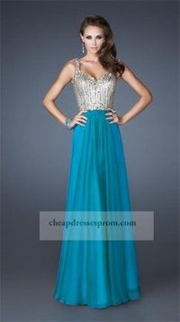 Long Teal Corset Top Beading Prom Dress 2014