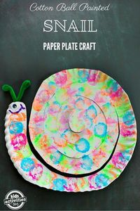 You don't need a lot of special supplies to make this Cotton Ball Painted Snail Paper Plate Craft.