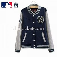 Navy Letter NY Stripe Couple Baseball Jacket 2015