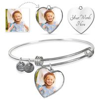 Personalized Heart Shaped Charm on Charm Bracelet $39.95