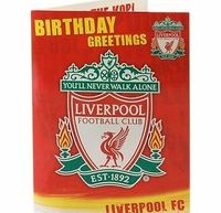 Liverpool F.C. Liverpool Fc Sound Greeting Card A great sound card featuring Liverpools logo on the front and the stadium inside. When opened the fans singing: Walk on, Walk on, with hope in your hearts, and youll (Barcode EAN = 0089923156971) htt...