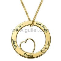 Gullei.com Gold Plated Sterling Silver Names Engraved Heart Shaped Pendant