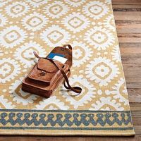 I love this mustard yellow color of this rug. And the grayish blue accent design. So perfect!