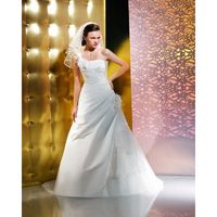 Simple A-line One Shoulder Hand Made Flowers Sweep/Brush Train Taffeta Wedding Dresses - Dressesular.com