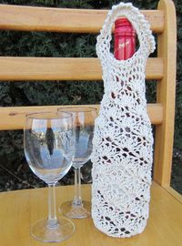 Crochet Lace Shell Wine Bag Tote Cozy PDF by GMaEllenCrochetGifts, $5.00