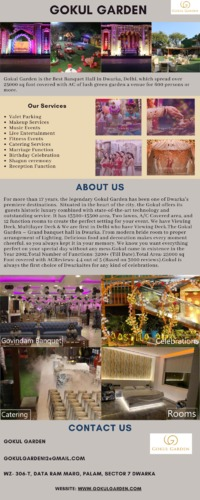 Spread over 25000 sq foot, book Gokul Garden, the best banquet halls in Dwarka, fully air-conditioned and customizable theme design for all your events.  https://www.gokulgarden.com/