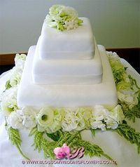 Green and White Square Wedding Cake
