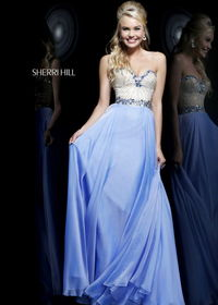 Sherri Hill 1923 Blue Long Beaded Top Strapless Chiffon Prom Dress Online