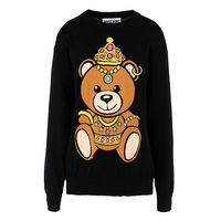 Moschino Crown Teddy Bear Womens Long Sleeves Sweater Black
