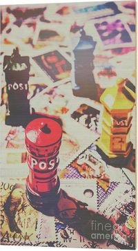 Posty Wood Print | Retro faded pop-art scene on iconic still-life post boxes and stamps from the world of postage. Stilling the mail room | #mailroom #businessdecor #officewallart #homeoffice #woodprints #postoffice #stampcollecting #stampcollector