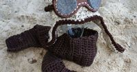 Crochet Toddler Aviator Hat with Goggles and Crocheted Scarf, Childrens Aviator Hat, Crocheted Hat, Toddler Hat. $42.00, via Etsy.