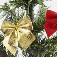 Pack of 10 Christmas Tree Ribbon Bow Appliques Different Colours. Clothing Xmas Crafts £5.49