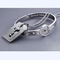 Gullei.com Engraved Lock and Key Bracelet Pendant Necklace Set for Couples