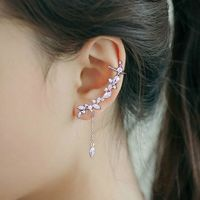 925 Sterling Silver Full CZ Crystal Leaf Branch Ear Climber Elegant Women Fashion Wedding Party Birthday Gifts Earrings $8.56