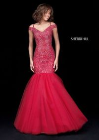 Beaded Tulle Ruby Sherri Hill 51446 Long Mermaid Evening Gown