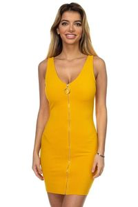 Womens Fashion Casual Simple Summer Fall Party Dress Formal Dress O-ring Front Zipper Up Mini Dress $30.00