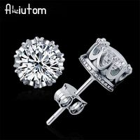 ALIUTOM 925 Sterling Sliver Fashion Jewelry 8MM Round 2 Carat Cubic Zirconia Silver Stud Earrings for Women �'�691.01