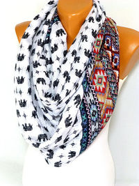 Scarf, Shawl, Elephant Printed Scarf, Elephant Patterned Shawls, Ethnic Scarf, Lightweight Summer Scarf, Gift for Mothers Day, for Christmas $17.50