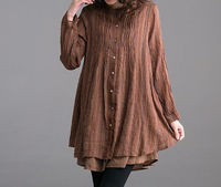 coffee color/ gray Single breasted fold linen dress