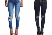 Dead Funky WOMENS LADIES SKINNY FIT RIPPED JEANS DENIM BLUE SIZE 8-14 (8, DENIM BLUE) womens skinny fit ripped jeans,colour denim blue,sizes available 6,8,10,12,14 , waist size inches 6=26, 8=28, 10=30, 12=32, 14=34, leg le (Barcode EAN = 5053...