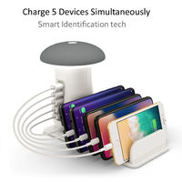 Bakeey QC3.0 Multiport Fast Charging USB Charger Mushroom LED Desk Lamp Charging Stand For iPhone XS 11 Pro Huawei P30 Pro Note10