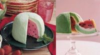 Okay so this is probably my last Watermelon Dessert Recipe share of the summer. =) My mom and I are totally digging on this Watermelon Ice Cream Bombe Dessert R