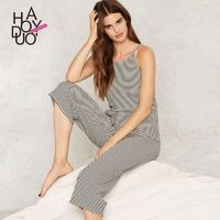 2017 summer dress New Sexy hollow out Backless stripe knit Halter jumpsuit - Bonny YZOZO Boutique Store