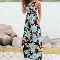 Women Sleeveless Floral Print Maxi Dress with Pockets $22.46