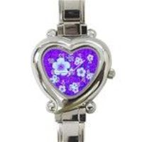 purple flower charm watch