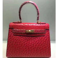 Hermes Kelly Bag Ostrich Leather Gold Hardware In Red