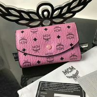 MCM Large Color Visetos Trifold Leather Short Wallet In Pink