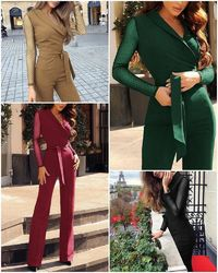 Price: $37.56 | Product: Elegant long sleeve office ladies Sashes plus size red long overalls jumpsuit | Visit our online store https://ladiesgents.ca
