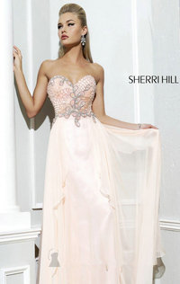 Light Peach Strapless Beaded Gown by Sherri Hill 3895