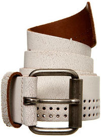Burton White Leather Eyelet Belt White distressed leather belt with eyelets with silver coloured roller buckle.Garment Information* Leather http://www.comparestoreprices.co.uk/mens-clothing-accessories/burton-white-leather-eyelet-belt.asp