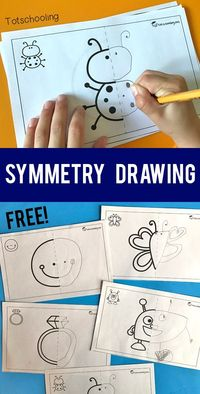 FREE printable Symmetry drawing activity for preschool and kindergarten kids. A fun art and math activity in one! Kids will complete the symmetrical pictures by