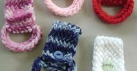 Crochet Dish Towel Holders! Great for around the house, use on a stroller for holding coats, burp clothes, blankets or other light items...cute gifts!