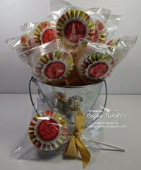 Inking Idaho on the Road - Prize Patrol Empty embellishment containers made into lollipops with a gift inside!
