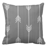 Chic Mod Arrows Grey Linen Style Throw Pillow