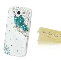 Luxury Rhinestone Diamond Bling Crystal Handmade Cell Phone Cover Case Samsung S3 Case Cover Blue Butterfly (TA731)