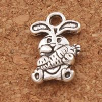 Pack of 20 Silver Coloured Carrot & Bunny Rabbit Charms. Animal Nature Theme Pendants. 15mm x 10mm £3.99