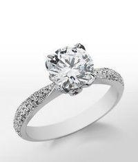 Monique Lhuillier Pavé Leaf Engagement Ring in Platinum #BlueNile