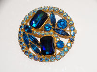 Gold Tone Aurora Borealis Faceted Blue Glass Brooch/Pin $51.75