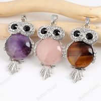 3colors Owl Pendant Quartz Jewelry Making Pendant