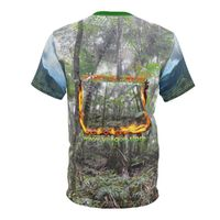 Unisex AOP Cut & Sew Tee - Cloud rainforest with Logo - 'If they ... go we go' of a forest in fire. $30