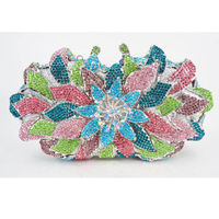 Women Flower Rhinestones Clutch Evening Bag $147.43